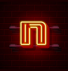 Neon city font letter n signboard vector