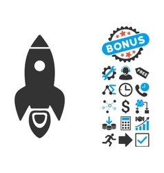 Rocket Flat Icon with Bonus vector image vector image