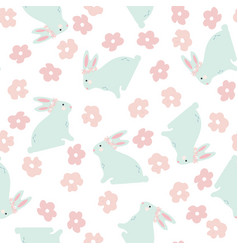 Seamless pattern with bunny and flowers vector