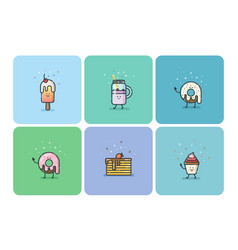 set of flat street food icons deserts sweets cute vector image