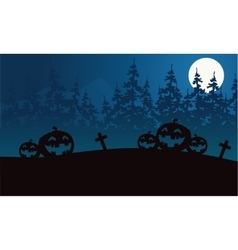 Silhouette of pumpkins Halloween with spruce vector image vector image