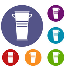 Trash can with handles icons set vector