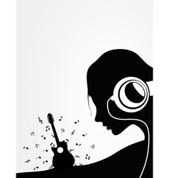 Woman listens to guitar music vector