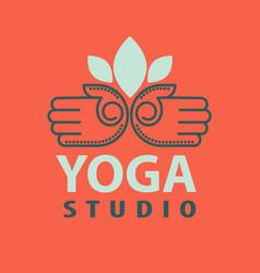 Yoga studio logotype with open palms isolated vector