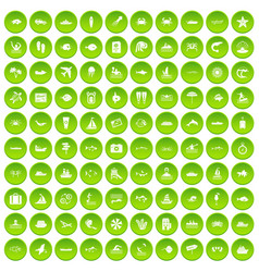 100 ocean icons set green circle vector