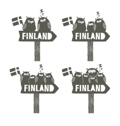 Set of way signs going to finland vector