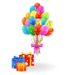 Gift box and balloons vector