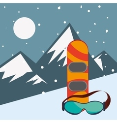Snowboard and glasses with mountains landscape vector