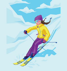 Young active woman skiing in mountains vector