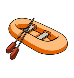 orange rubber lifeboatthe boat which weighs on vector image