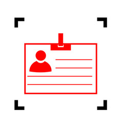 Id card sign red icon inside black focus vector