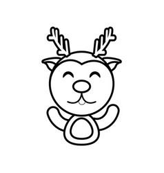 Reindeer animal toy outline vector