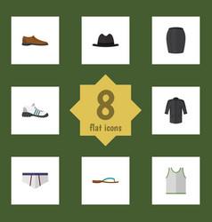 flat garment set of uniform beach sandal vector image