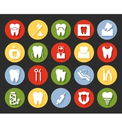 Flat style dental icons set vector