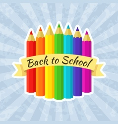 Back to School Label with Crayons vector image