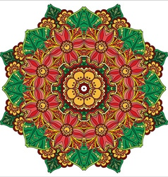 Mandala round ornament pattern with floral vector