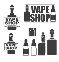 Set of monochrome logos of electronic cigarettes vector