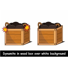 Dynamite in box over white background vector