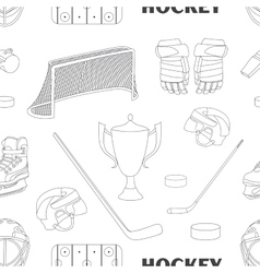 Hand drawn hockey icons pattern vector