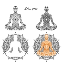 Set of lotus pose with ornament vector