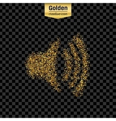 Gold glitter icon of volume isolated on vector