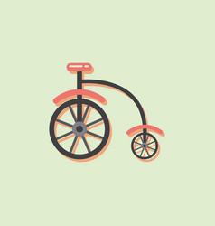 Antique highwheel bike 1885 in sticker style vector