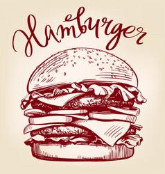 Big burger hamburger hand drawn vector