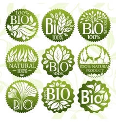 Bio and natural product labels set vector image vector image