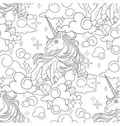 Cute graphic unicorn pattern vector