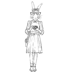 fashion of cute bunny hipster with photocamera vector image