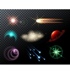 Glowing Stars and Comets vector image