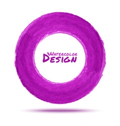 Hand drawn watercolor purple circle design element vector image