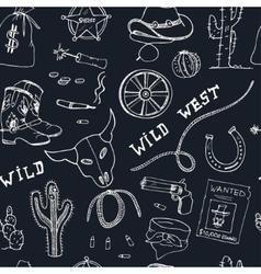 Hand drawn wild west seamless pattern vector image