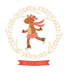 Hello winter card with cute deer girl vector image vector image