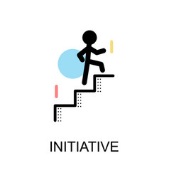 initiative logo and man with stairs on white vector image vector image