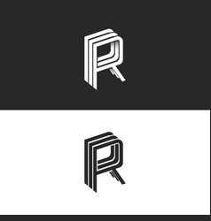 Letter r logo isometric emblem rrr symbol black vector