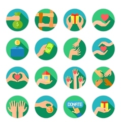 Long hands giving flat icons set vector image
