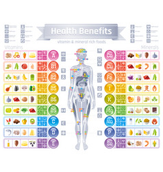 mineral vitamin supplement icons health benefit vector image vector image