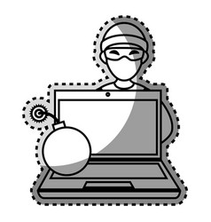 Monochrome contour sticker with hacker and laptop vector