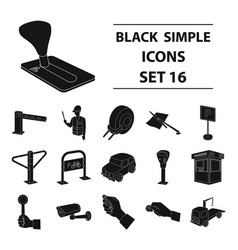 parking zone set icons in black style big vector image