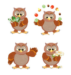 set brown owls with flowers on a white background vector image