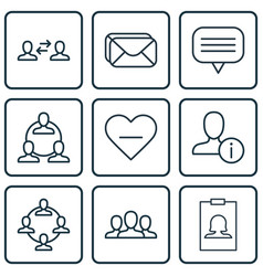 set of 9 social network icons includes teamwork vector image