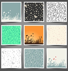 set seamless color patterns of butterflies and vector image