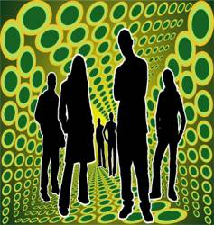silhouettes people in green box vector image vector image