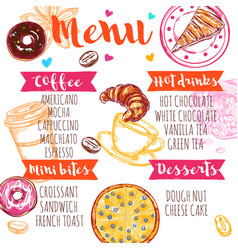 sketch coffee menu vector image