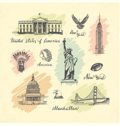 Sketches of symbols of the usa vector