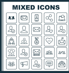 social icons set collection of favorite person vector image vector image