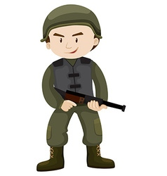 Soldier with helmet and gun vector image vector image