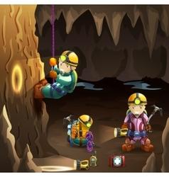 Speleologists in cave 3d background poster vector