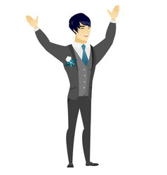 Successful asian bridegroom jumping vector